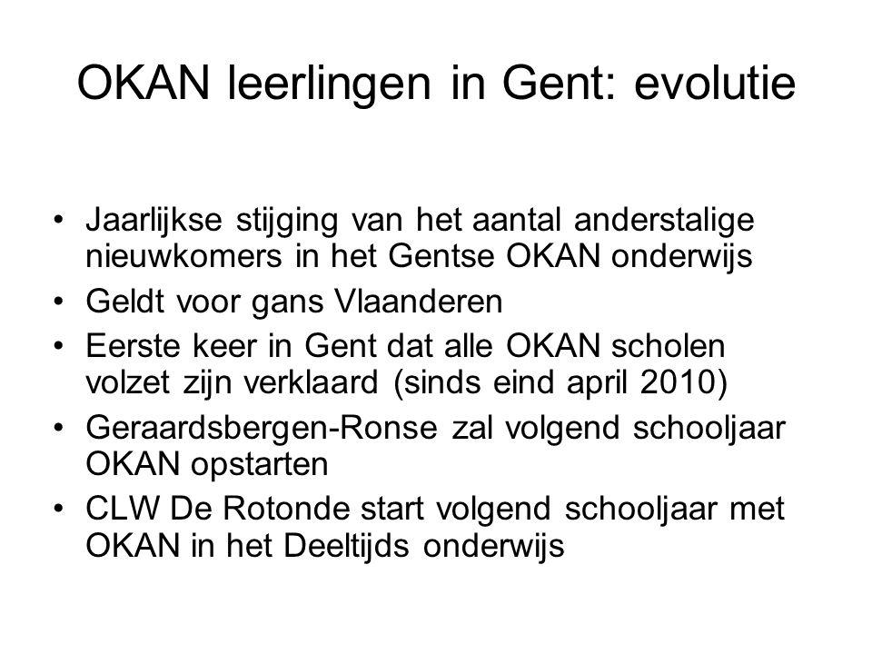 OKAN leerlingen in Gent: evolutie Jaarlijkse stijging van het aantal anderstalige nieuwkomers in het Gentse OKAN onderwijs Geldt voor gans Vlaanderen