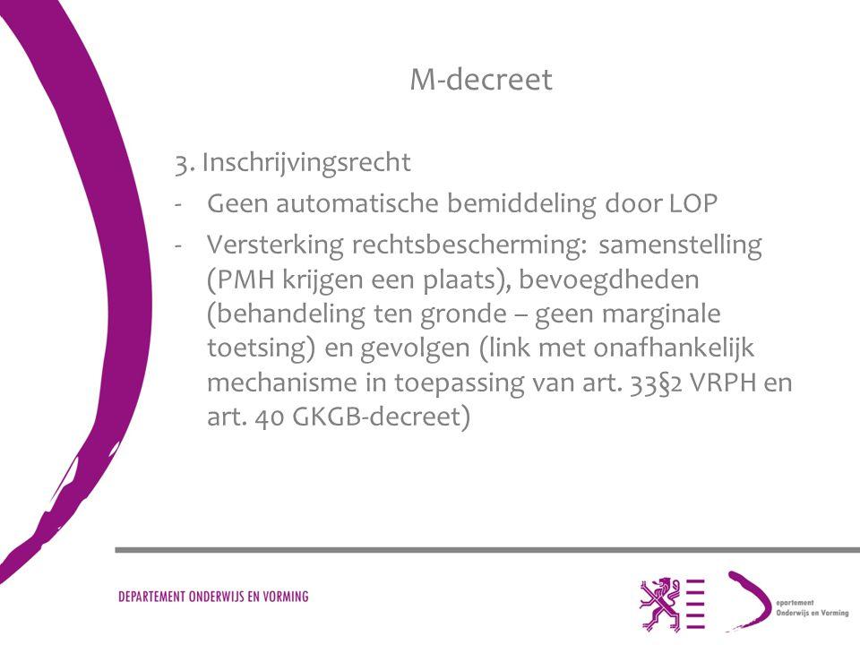 M-decreet 3. Inschrijvingsrecht -Geen automatische bemiddeling door LOP -Versterking rechtsbescherming: samenstelling (PMH krijgen een plaats), bevoeg