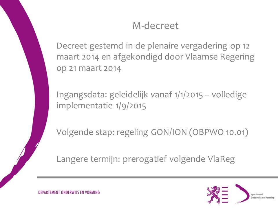 M-decreet Decreet gestemd in de plenaire vergadering op 12 maart 2014 en afgekondigd door Vlaamse Regering op 21 maart 2014 Ingangsdata: geleidelijk v