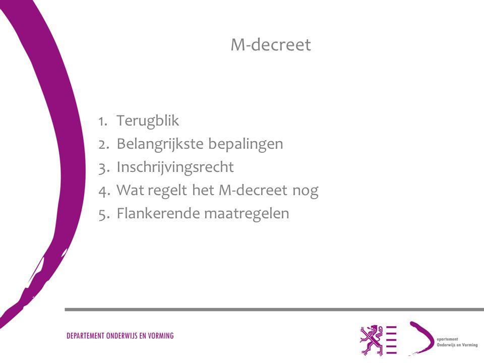 M-decreet 1.Terugblik 2.Belangrijkste bepalingen 3.Inschrijvingsrecht 4.Wat regelt het M-decreet nog 5.Flankerende maatregelen