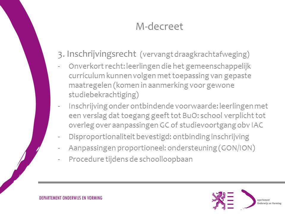M-decreet 3. Inschrijvingsrecht (vervangt draagkrachtafweging) -Onverkort recht: leerlingen die het gemeenschappelijk curriculum kunnen volgen met toe