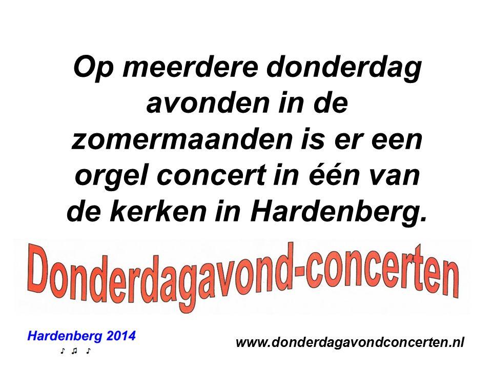 Op meerdere donderdag avonden in de zomermaanden is er een orgel concert in één van de kerken in Hardenberg.