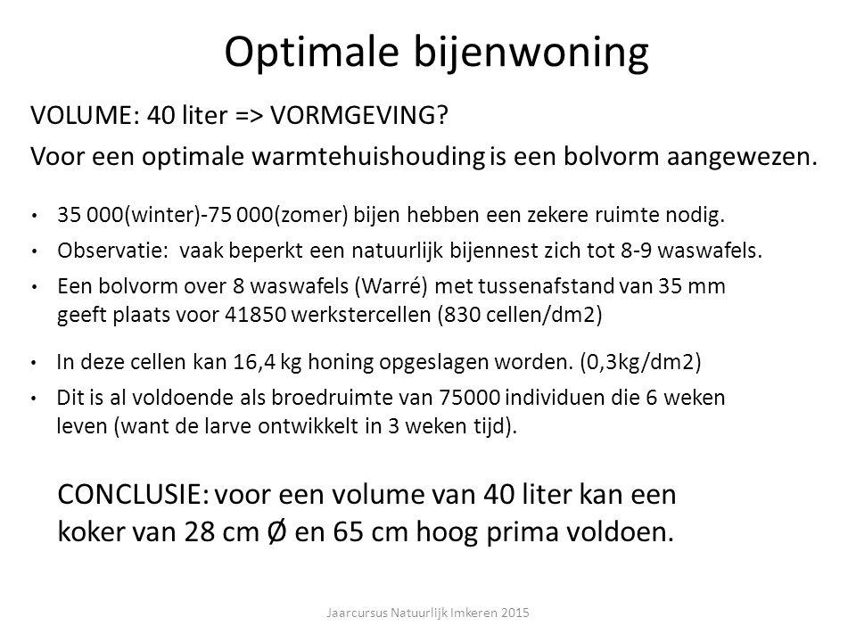 Optimale bijenwoning VOLUME: 40 liter => VORMGEVING.