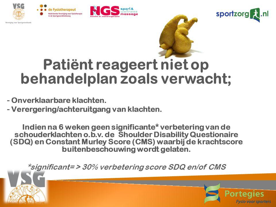 Patiënt reageert niet op behandelplan zoals verwacht; - Onverklaarbare klachten. - Verergering/achteruitgang van klachten. Indien na 6 weken geen sign