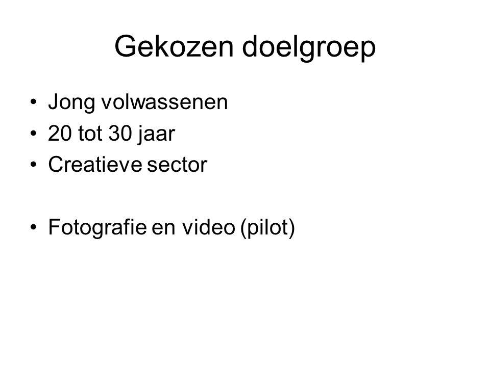 Gekozen doelgroep Jong volwassenen 20 tot 30 jaar Creatieve sector Fotografie en video (pilot)
