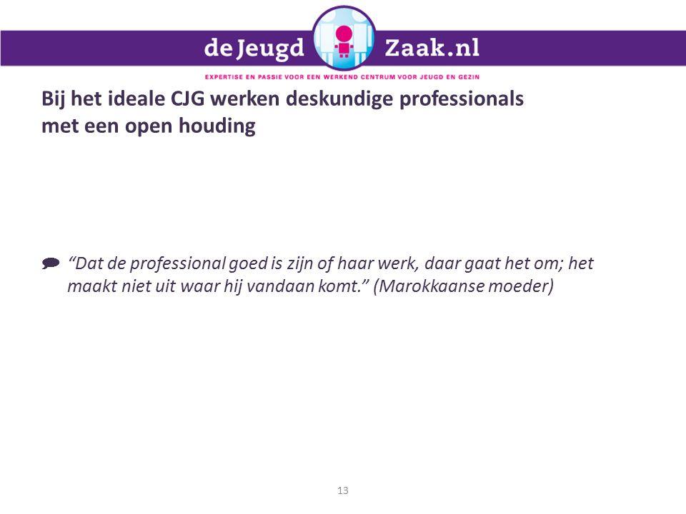 Bij het ideale CJG werken deskundige professionals met een open houding 13  Dat de professional goed is zijn of haar werk, daar gaat het om; het maakt niet uit waar hij vandaan komt. (Marokkaanse moeder)