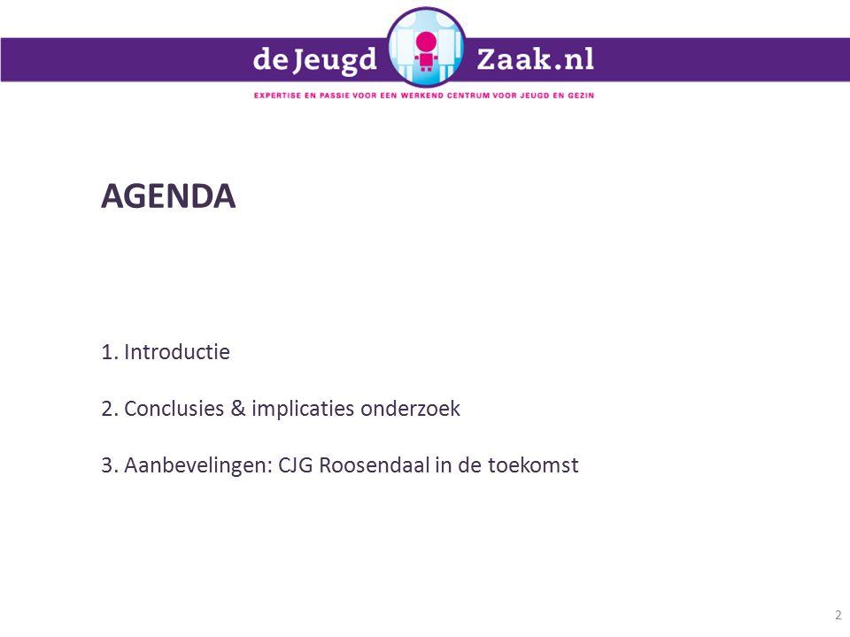 AGENDA 1.Introductie 2. Conclusies & implicaties onderzoek 3.