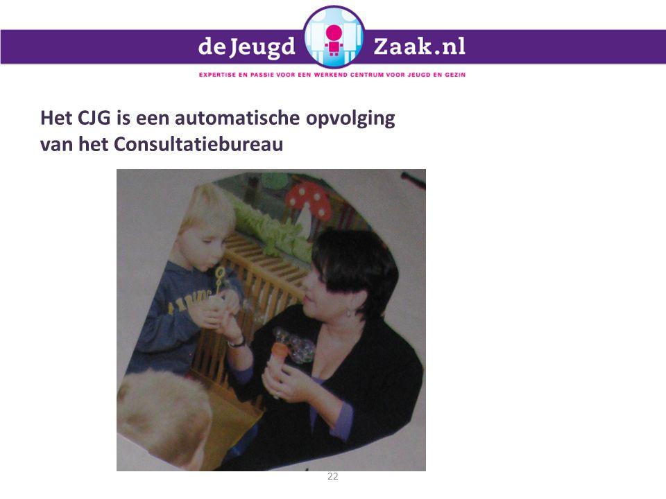 Het CJG is een automatische opvolging van het Consultatiebureau 22