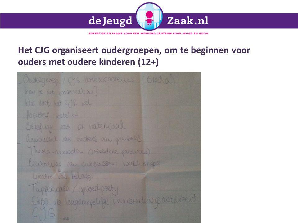 Het CJG organiseert oudergroepen, om te beginnen voor ouders met oudere kinderen (12+) 27