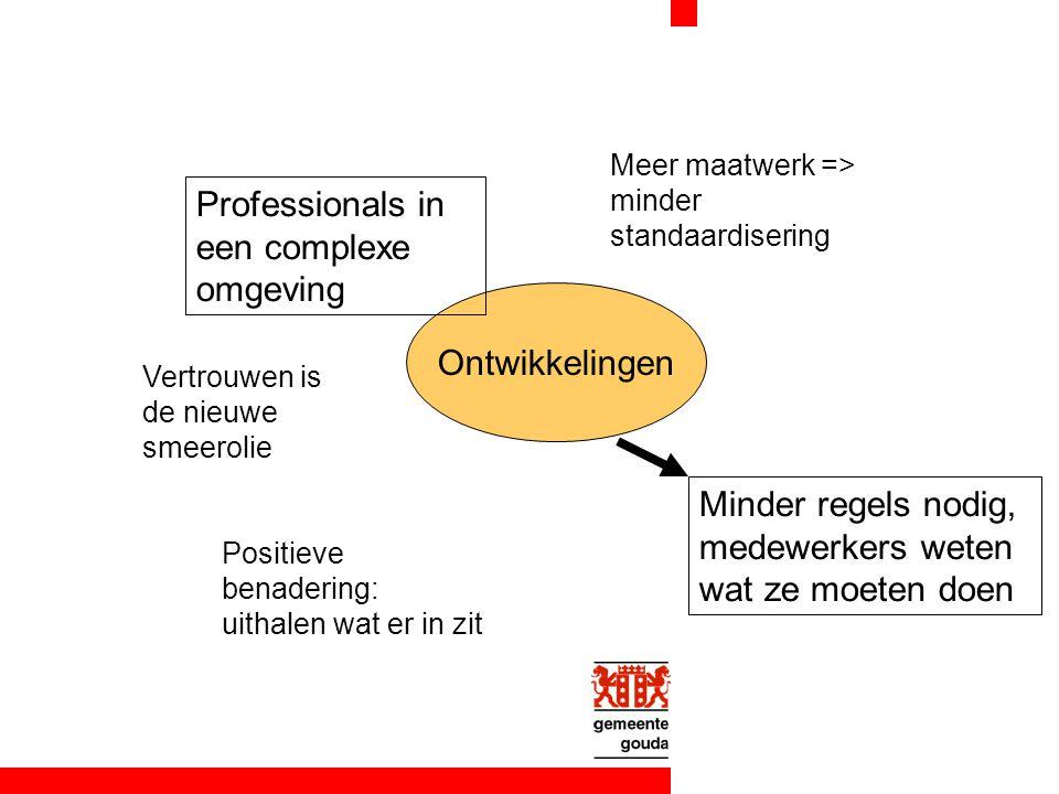 Ontwikkelingen Professionals in een complexe omgeving Vertrouwen is de nieuwe smeerolie Meer maatwerk => minder standaardisering Positieve benadering: