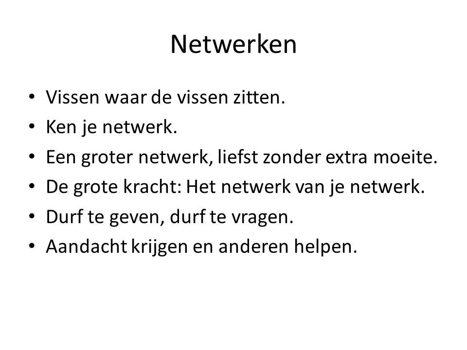 Netwerken Vissen waar de vissen zitten. Ken je netwerk. Een groter netwerk, liefst zonder extra moeite. De grote kracht: Het netwerk van je netwerk. D
