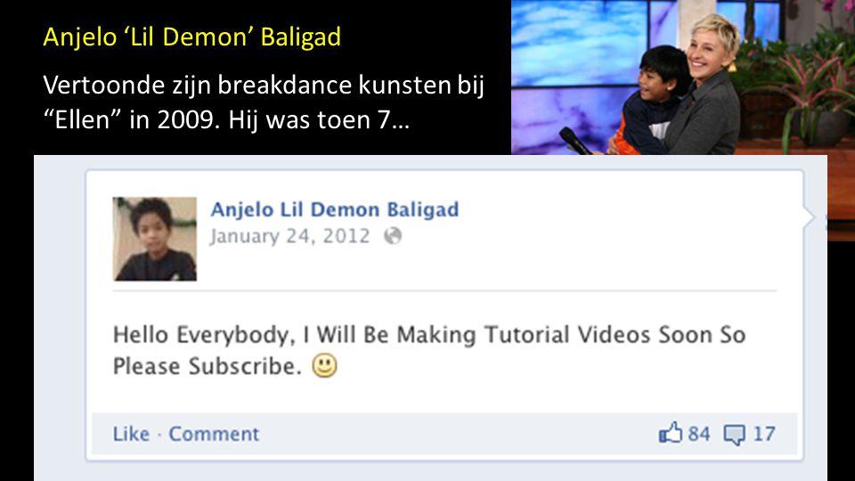 """Anjelo 'Lil Demon' Baligad Vertoonde zijn breakdance kunsten bij """"Ellen"""" in 2009. Hij was toen 7…"""