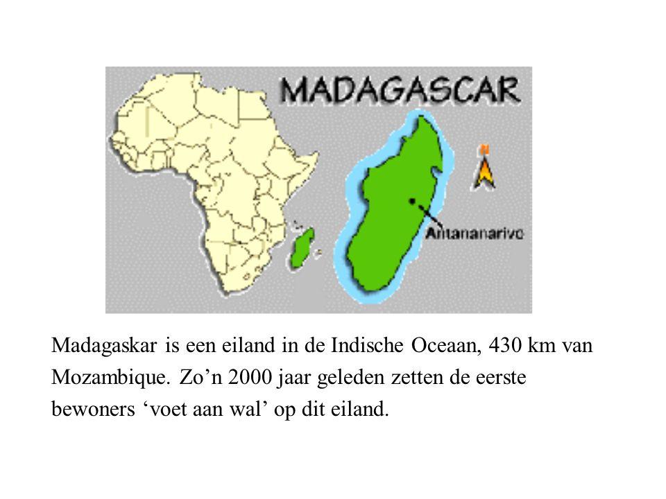 Madagaskar is een eiland in de Indische Oceaan, 430 km van Mozambique.