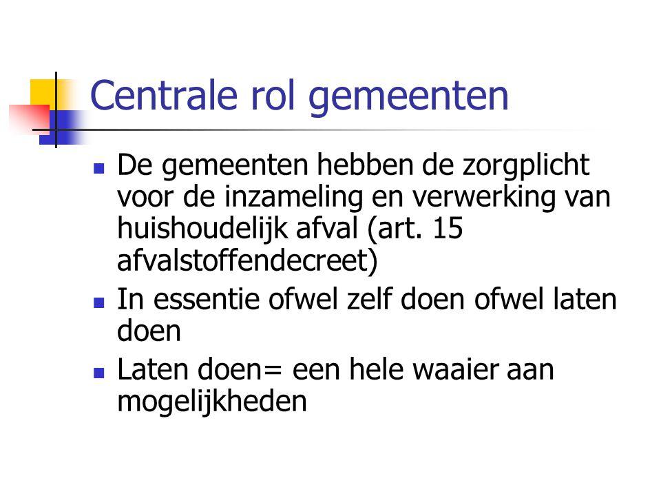 Centrale rol gemeenten De gemeenten hebben de zorgplicht voor de inzameling en verwerking van huishoudelijk afval (art.