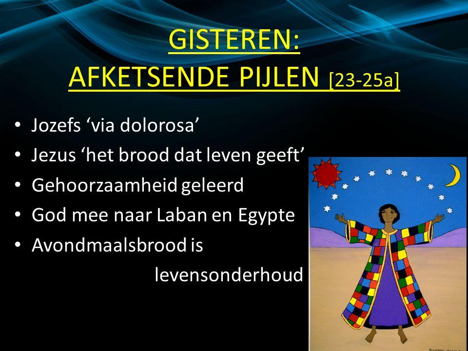 GISTEREN: AFKETSENDE PIJLEN [23-25a] Jozefs 'via dolorosa' Jezus 'het brood dat leven geeft' Gehoorzaamheid geleerd God mee naar Laban en Egypte Avondmaalsbrood is levensonderhoud