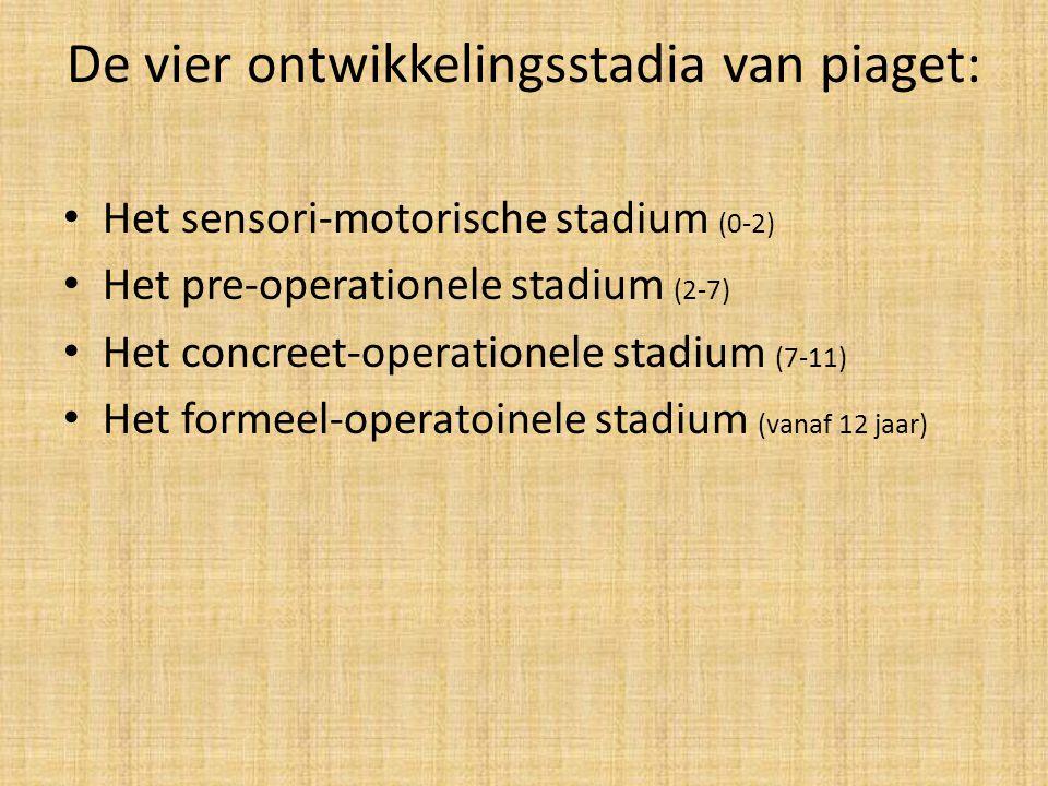 De vier ontwikkelingsstadia van piaget: Het sensori-motorische stadium (0-2) Het pre-operationele stadium (2-7) Het concreet-operationele stadium (7-11) Het formeel-operatoinele stadium (vanaf 12 jaar)
