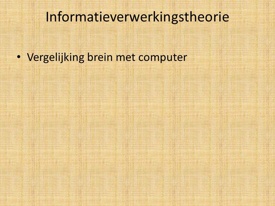 Informatieverwerkingstheorie Vergelijking brein met computer