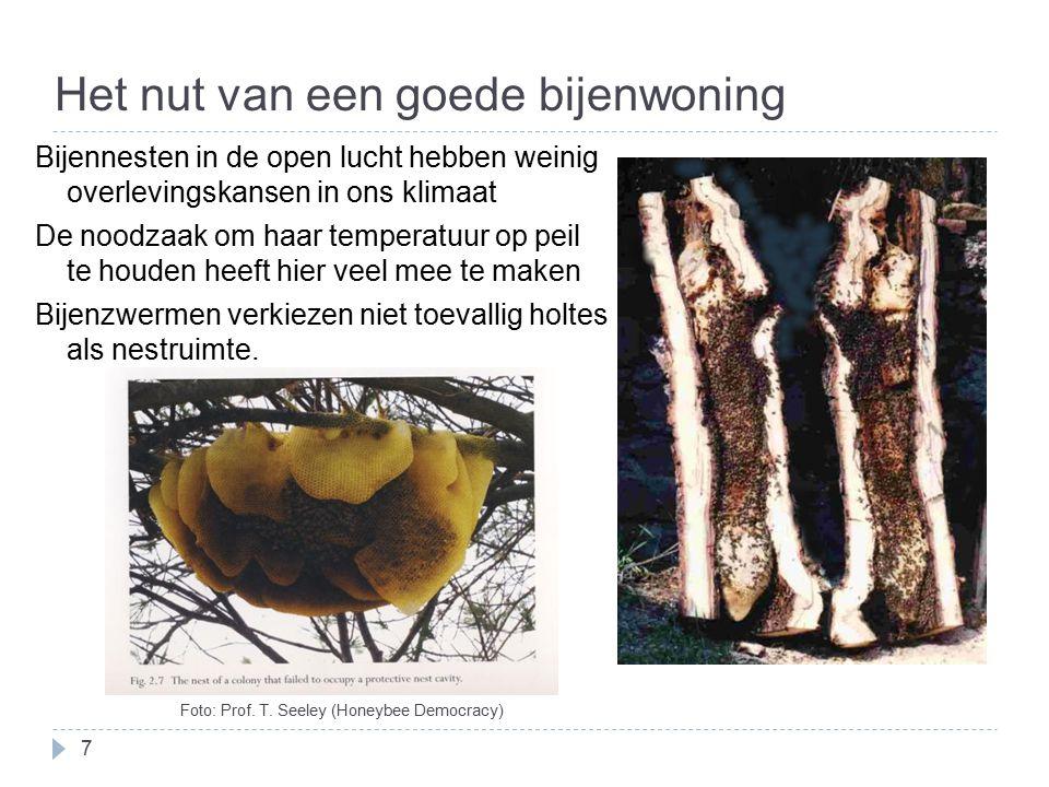 Het nut van een goede bijenwoning 7 Bijennesten in de open lucht hebben weinig overlevingskansen in ons klimaat De noodzaak om haar temperatuur op pei
