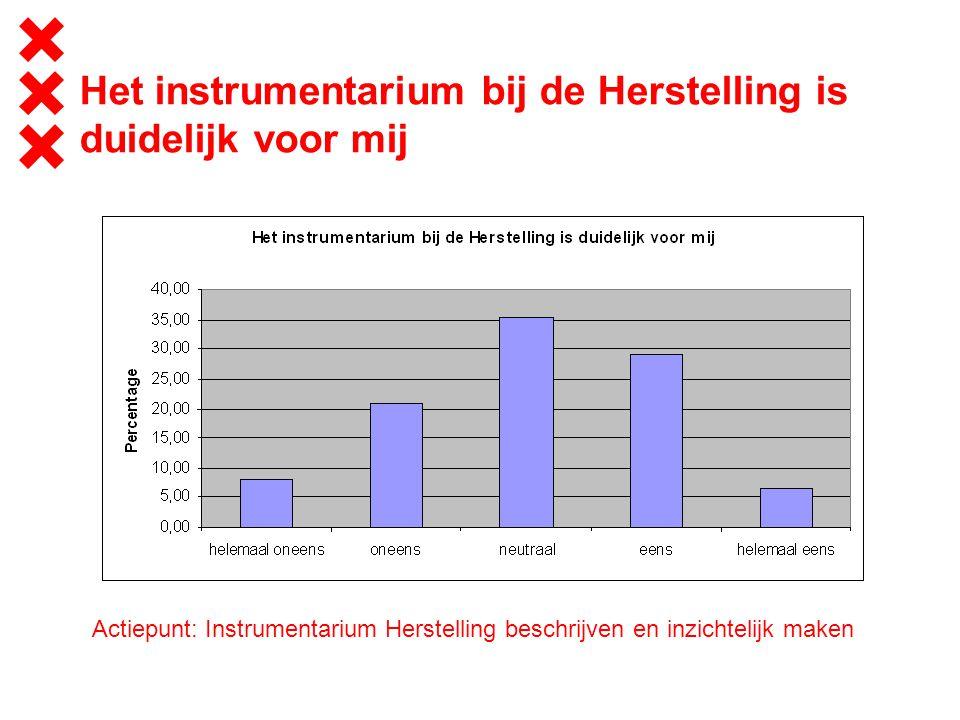 Het instrumentarium bij de Herstelling is duidelijk voor mij Actiepunt: Instrumentarium Herstelling beschrijven en inzichtelijk maken