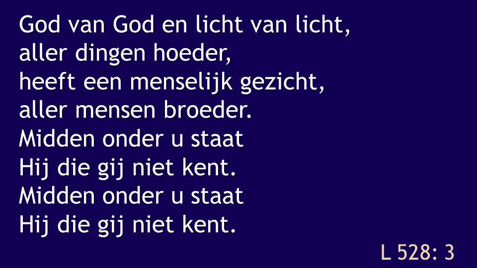 L 528: 3 God van God en licht van licht, aller dingen hoeder, heeft een menselijk gezicht, aller mensen broeder.