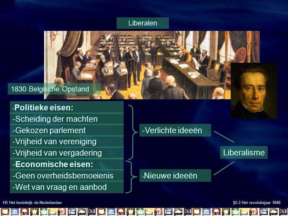 H5 Het koninkrijk de Nederlanden §5.2 Het revolutiejaar 1848 Grondwet van 1848 Burgers o.a.: -Iedereen gelijk voor de wet -Rijke mannen mochten stemmen -Recht van vereniging -Recht van vergadering -Vrijheid van meningsuiting Parlement (wetgevende macht) -Iedere vier jaar gekozen -Mocht wetten goed- of afkeuren -Mocht zelf wetten indienen Ministers (uitvoerende macht) - Ministeriële verantwoordelijkheid Koning -Onschendbaar