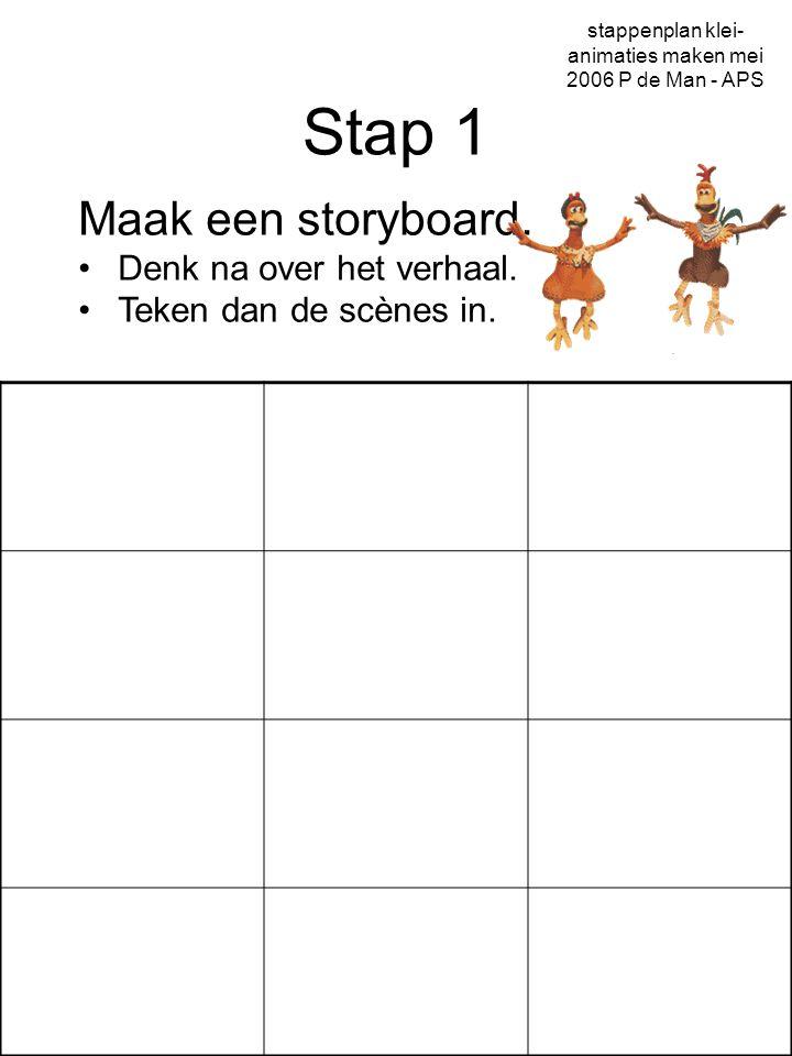 Stap 1 Maak een storyboard. Denk na over het verhaal. Teken dan de scènes in. stappenplan klei- animaties maken mei 2006 P de Man - APS