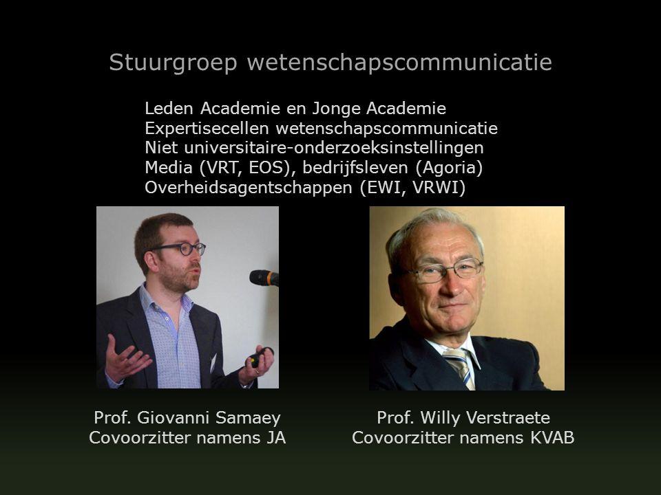 Stuurgroep wetenschapscommunicatie Leden Academie en Jonge Academie Expertisecellen wetenschapscommunicatie Niet universitaire-onderzoeksinstellingen