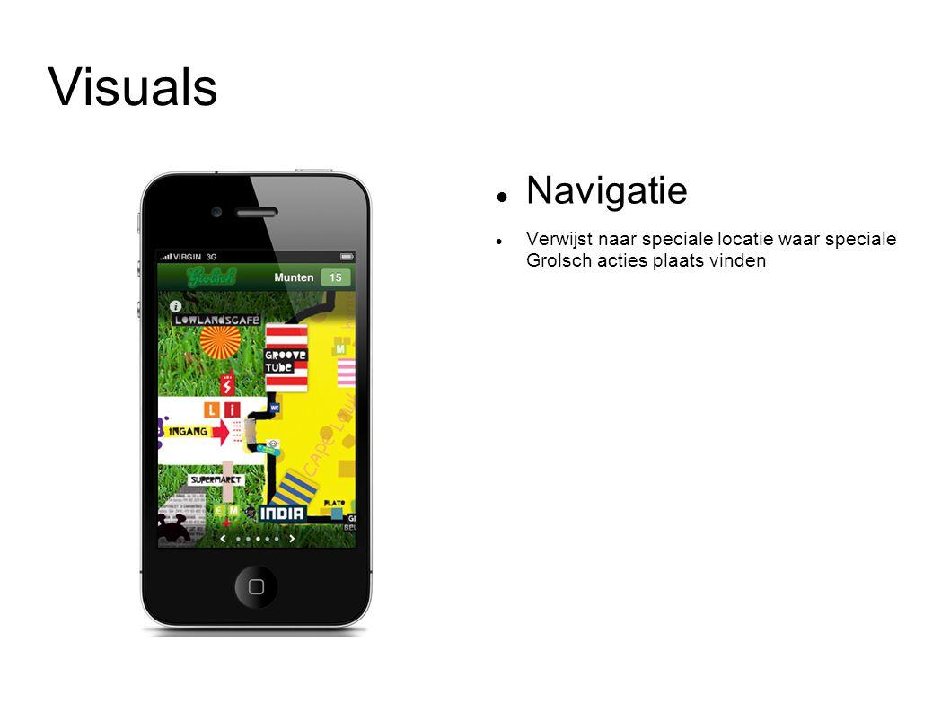 Visuals Navigatie Verwijst naar speciale locatie waar speciale Grolsch acties plaats vinden