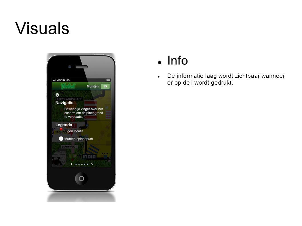 Visuals Info De informatie laag wordt zichtbaar wanneer er op de i wordt gedrukt.
