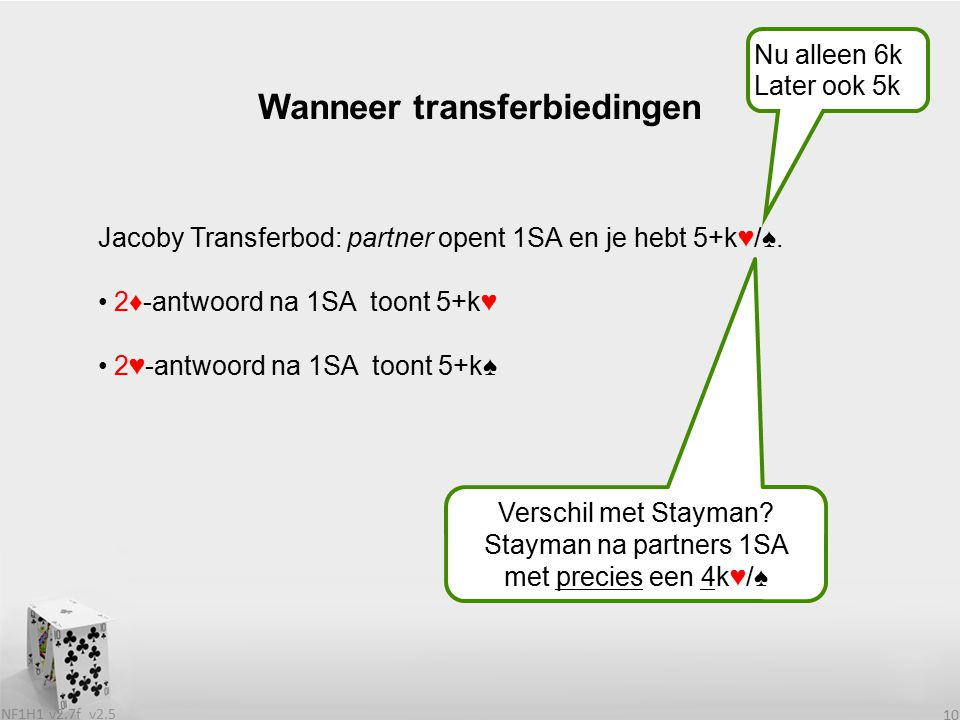 v2.5 NF1H1 v2.7f 10 Jacoby Transferbod: partner opent 1SA en je hebt 5+k♥/♠. 2♦-antwoord na 1SA toont 5+k♥ 2♥-antwoord na 1SA toont 5+k♠ Wanneer trans