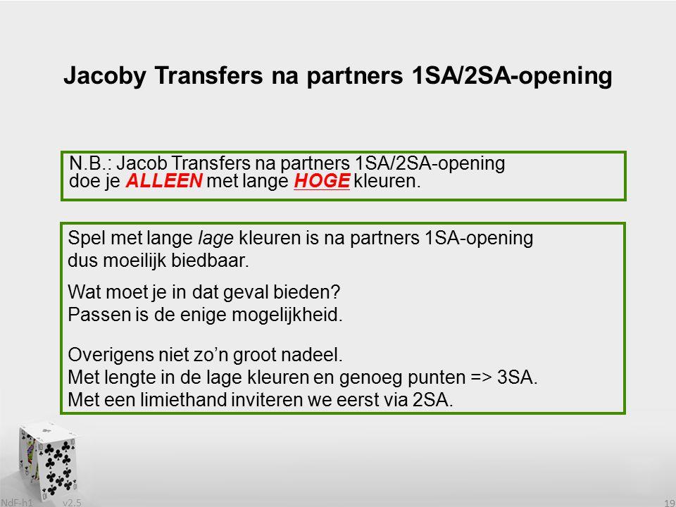v2.5 NdF-h1 19 N.B.: Jacob Transfers na partners 1SA/2SA-opening doe je ALLEEN met lange HOGE kleuren. Jacoby Transfers na partners 1SA/2SA-opening Sp