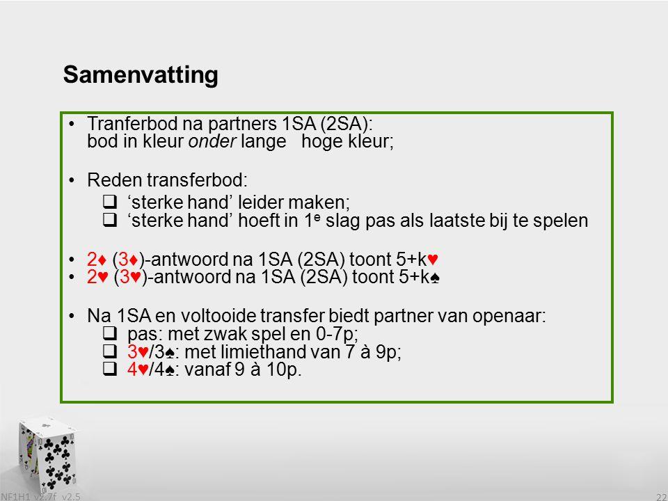 v2.5 NF1H1 v2.7f 22 Tranferbod na partners 1SA (2SA): bod in kleur onder lange hoge kleur; Reden transferbod:  'sterke hand' leider maken;  'sterke