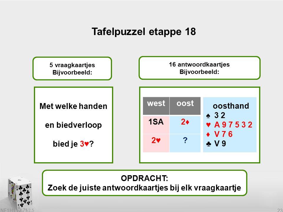 v2.5 NF1H1 v2.7f 23 Tafelpuzzel etappe 18 OPDRACHT: Zoek de juiste antwoordkaartjes bij elk vraagkaartje 5 vraagkaartjes Bijvoorbeeld: 16 antwoordkaartjes Bijvoorbeeld: Met welke handen en biedverloop bied je 3♥.
