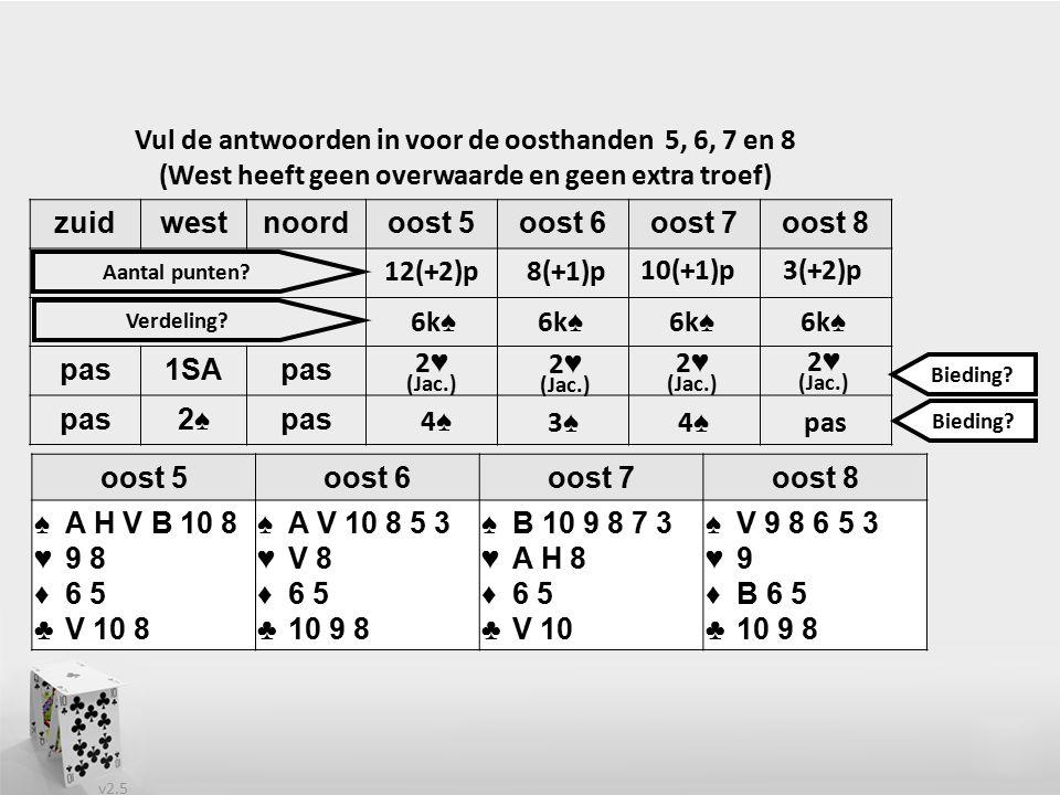 v2.5 zuidwestnoordoost 5oost 6oost 7oost 8 pas1SApas 2♠pas Vul de antwoorden in voor de oosthanden 5, 6, 7 en 8 (West heeft geen overwaarde en geen extra troef) oost 5oost 6oost 7oost 8 ♠A H V B 10 8 ♥9 8 ♦6 5 ♣V 10 8 ♠A V 10 8 5 3 ♥V 8 ♦6 5 ♣10 9 8 ♠B 10 9 8 7 3 ♥A H 8 ♦6 5 ♣V 10 ♠V 9 8 6 5 3 ♥9 ♦B 6 5 ♣10 9 8 2 ♥ (Jac.) 2 ♥ (Jac.) 12(+2)p 3(+2)p10(+1)p 8(+1)p 6k ♠ 2 ♥ (Jac.) Aantal punten.