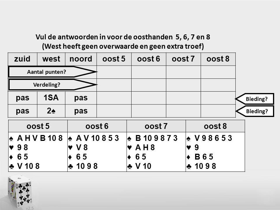 v2.5 zuidwestnoordoost 5oost 6oost 7oost 8 pas1SApas 2♠pas Vul de antwoorden in voor de oosthanden 5, 6, 7 en 8 (West heeft geen overwaarde en geen extra troef) oost 5oost 6oost 7oost 8 ♠A H V B 10 8 ♥9 8 ♦6 5 ♣V 10 8 ♠A V 10 8 5 3 ♥V 8 ♦6 5 ♣10 9 8 ♠B 10 9 8 7 3 ♥A H 8 ♦6 5 ♣V 10 ♠V 9 8 6 5 3 ♥9 ♦B 6 5 ♣10 9 8 Aantal punten.