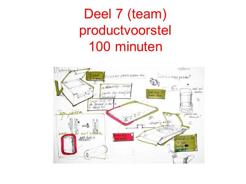 Deel 7 (team) productvoorstel 100 minuten Productvoorstel: schetsen, beeld,tekst