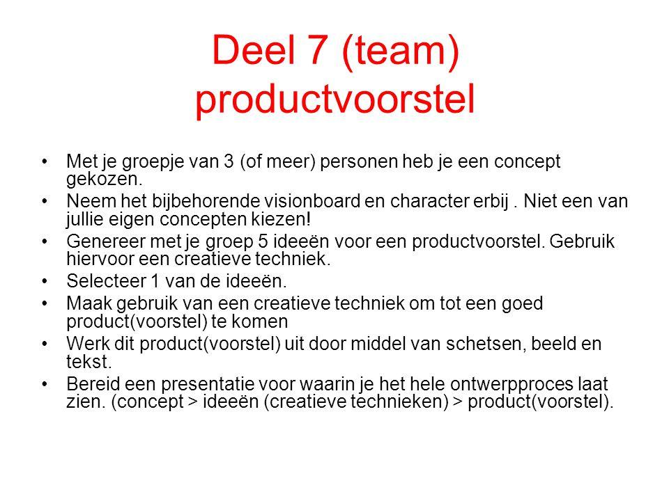 Deel 7 (team) productvoorstel Met je groepje van 3 (of meer) personen heb je een concept gekozen. Neem het bijbehorende visionboard en character erbij