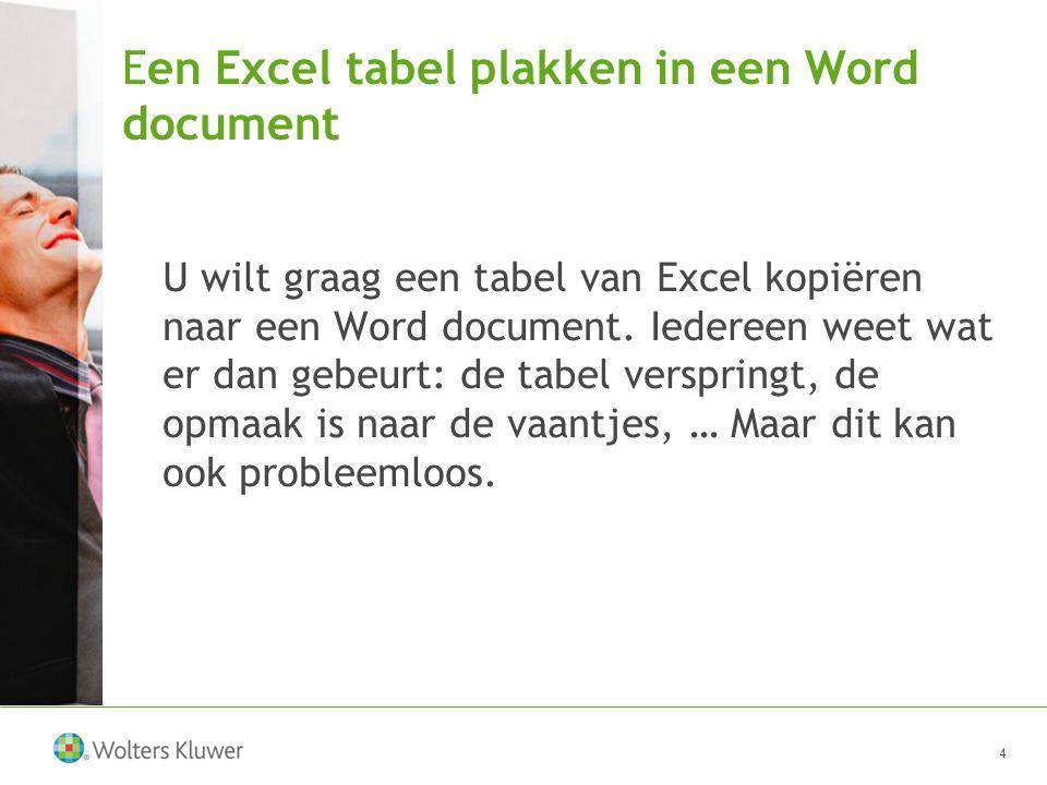 Een Excel tabel plakken in een Word document U wilt graag een tabel van Excel kopiëren naar een Word document.
