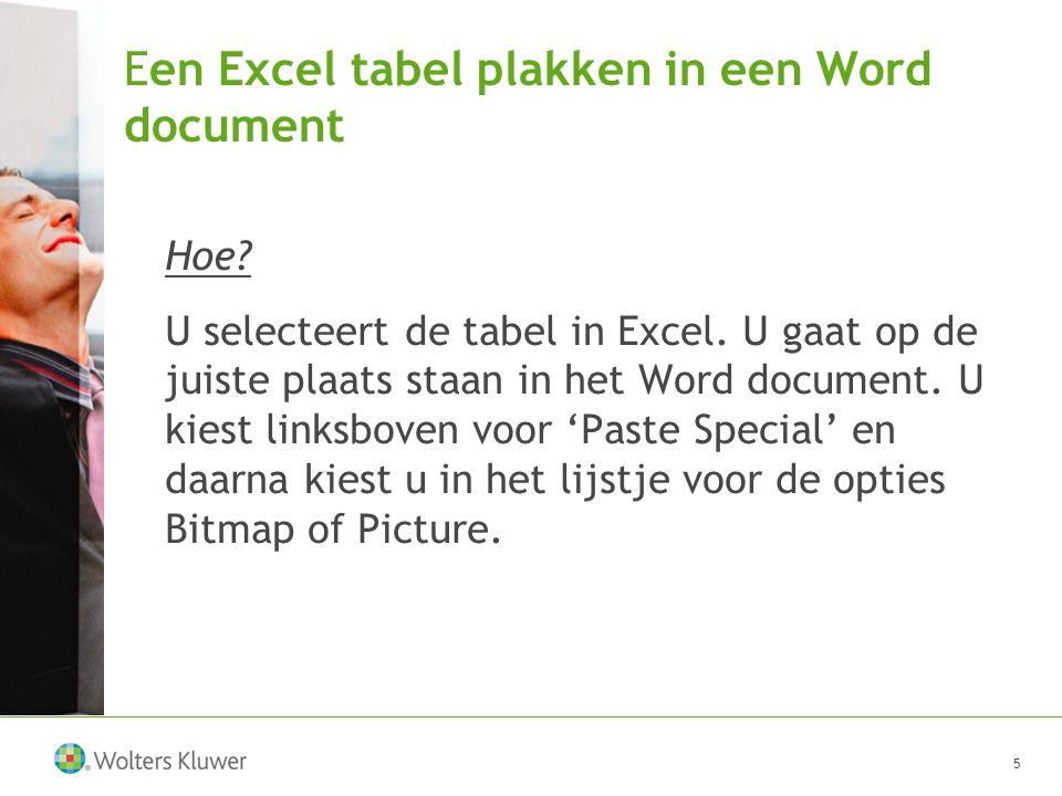 Een Excel tabel plakken in een Word document Hoe. U selecteert de tabel in Excel.