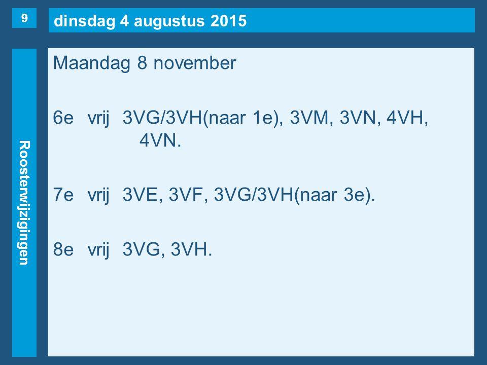 dinsdag 4 augustus 2015 Roosterwijzigingen Maandag 8 november 6evrij3VG/3VH(naar 1e), 3VM, 3VN, 4VH, 4VN. 7evrij3VE, 3VF, 3VG/3VH(naar 3e). 8evrij3VG,