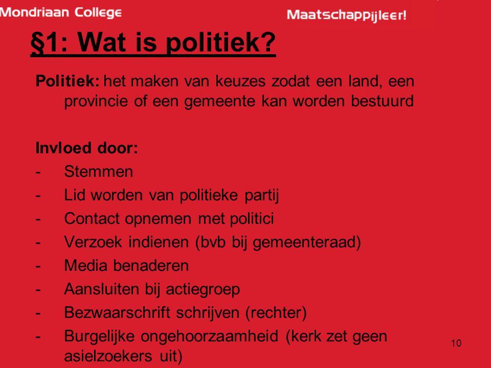 10 §1: Wat is politiek.