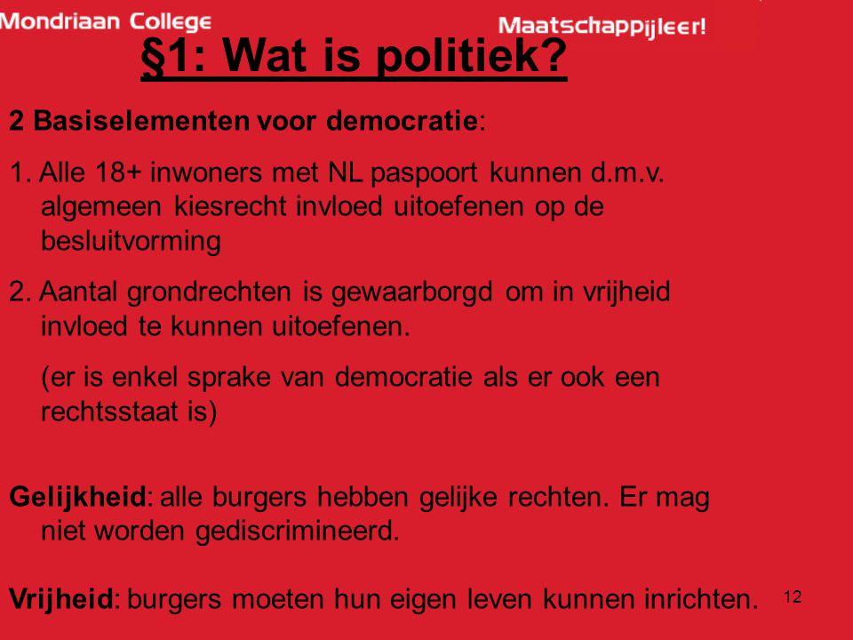 12 §1: Wat is politiek.2 Basiselementen voor democratie: 1.
