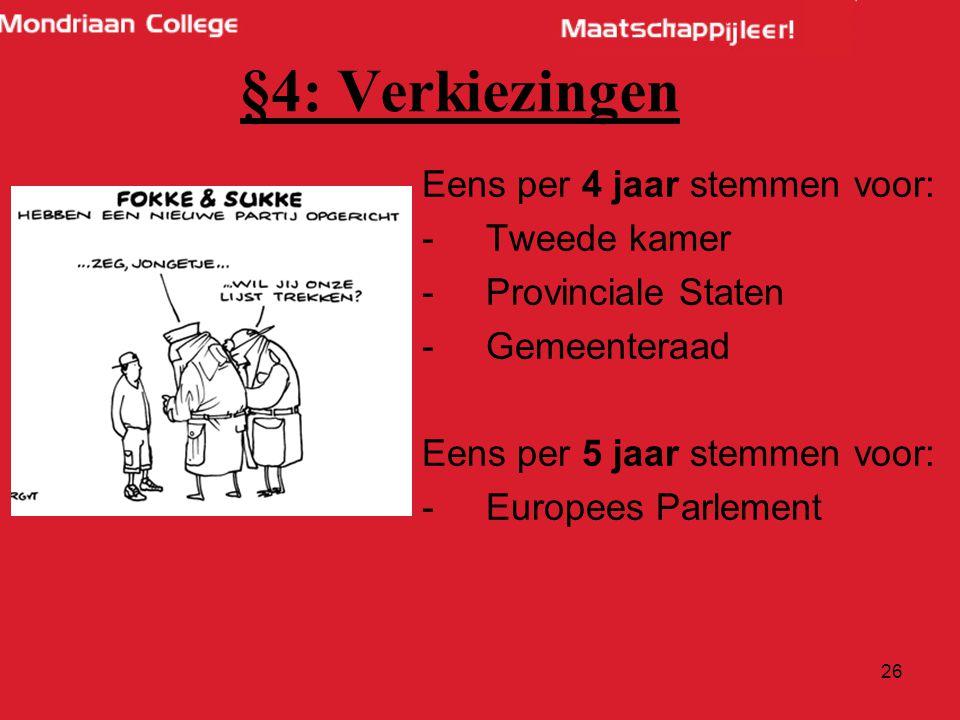 26 §4: Verkiezingen Eens per 4 jaar stemmen voor: -Tweede kamer -Provinciale Staten -Gemeenteraad Eens per 5 jaar stemmen voor: -Europees Parlement