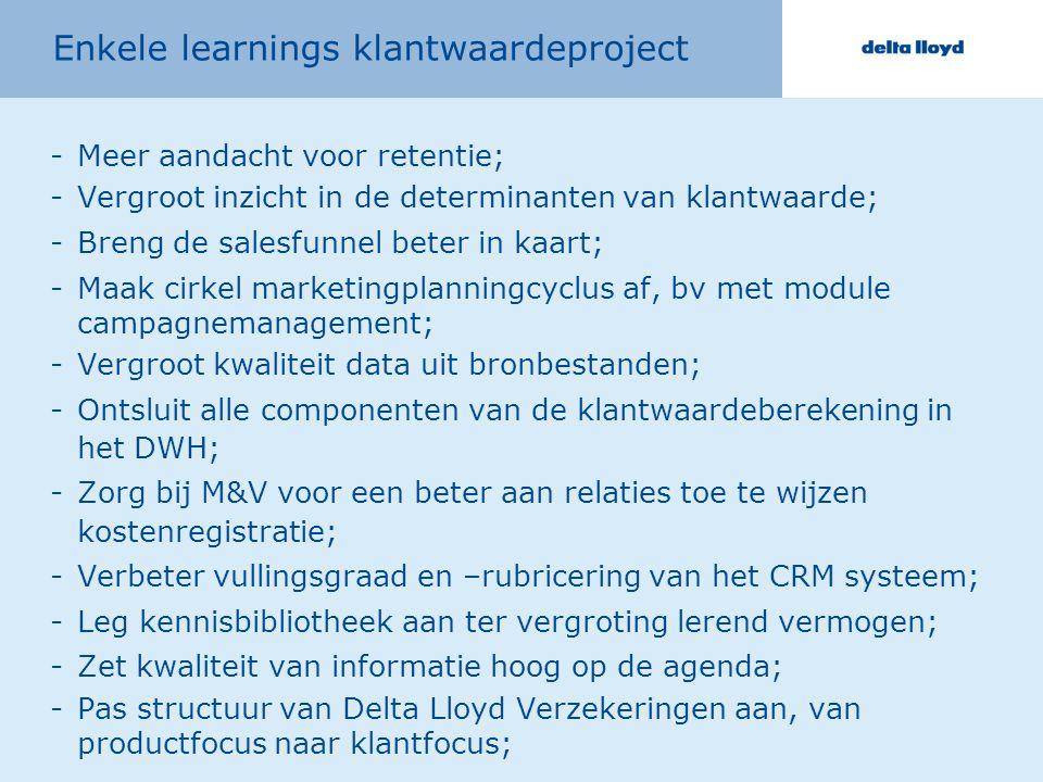Enkele learnings klantwaardeproject -Meer aandacht voor retentie; -Vergroot inzicht in de determinanten van klantwaarde; -Breng de salesfunnel beter i