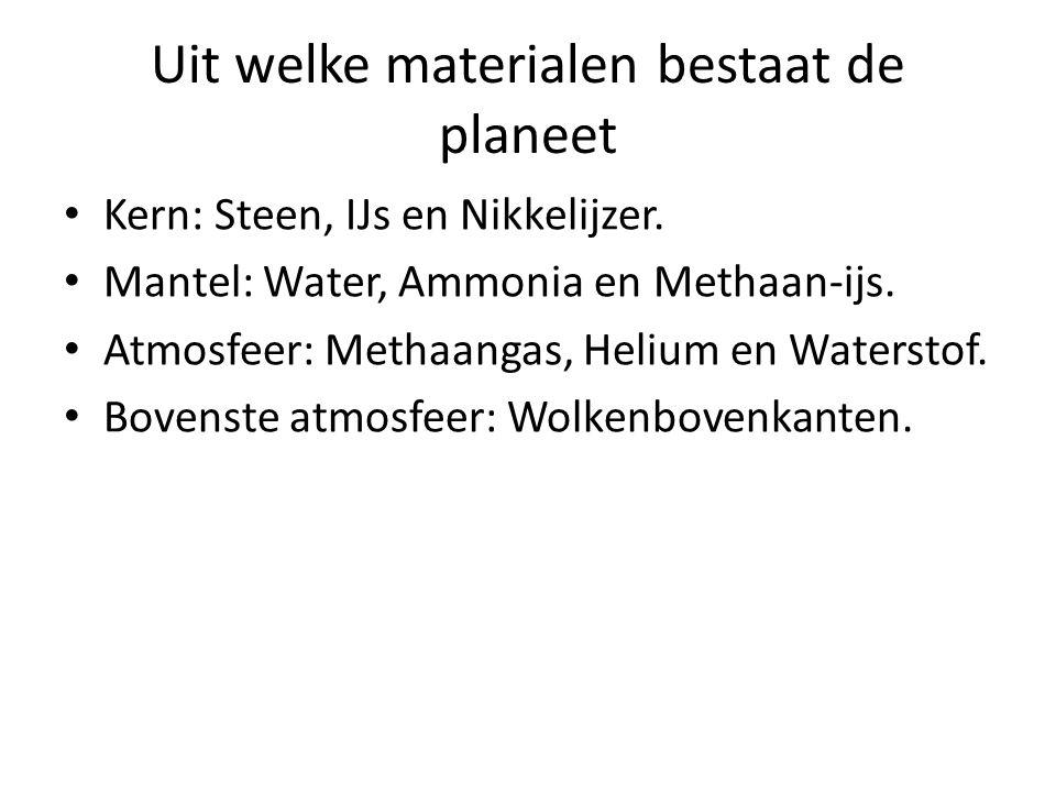 Uit welke materialen bestaat de planeet Kern: Steen, IJs en Nikkelijzer. Mantel: Water, Ammonia en Methaan-ijs. Atmosfeer: Methaangas, Helium en Water