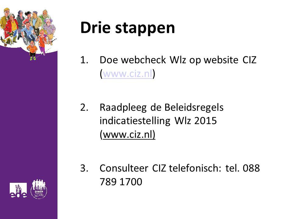 Drie stappen 1.Doe webcheck Wlz op website CIZ (www.ciz.nl)www.ciz.nl 2.Raadpleeg de Beleidsregels indicatiestelling Wlz 2015 (www.ciz.nl) 3.Consulteer CIZ telefonisch: tel.
