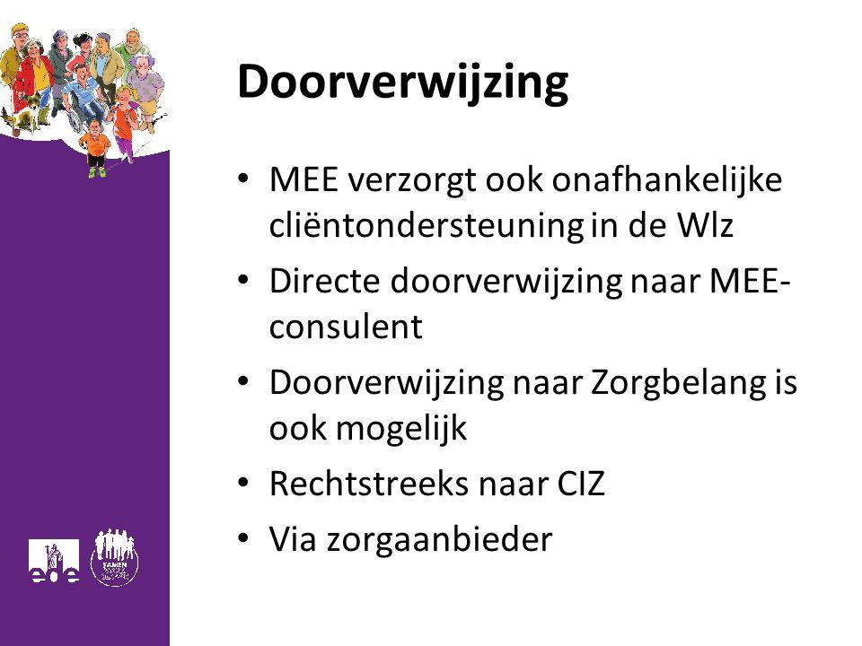 Doorverwijzing MEE verzorgt ook onafhankelijke cliëntondersteuning in de Wlz Directe doorverwijzing naar MEE- consulent Doorverwijzing naar Zorgbelang is ook mogelijk Rechtstreeks naar CIZ Via zorgaanbieder 17