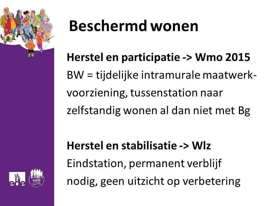 Beschermd wonen Herstel en participatie -> Wmo 2015 BW = tijdelijke intramurale maatwerk- voorziening, tussenstation naar zelfstandig wonen al dan niet met Bg Herstel en stabilisatie -> Wlz Eindstation, permanent verblijf nodig, geen uitzicht op verbetering