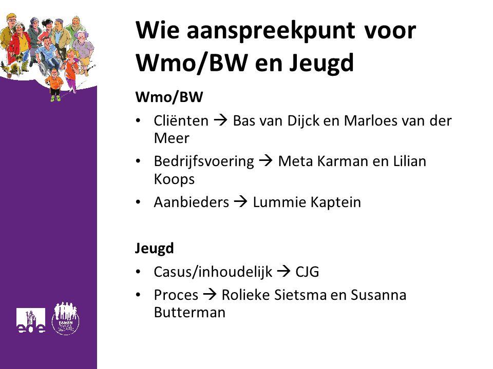 Wie aanspreekpunt voor Wmo/BW en Jeugd Wmo/BW Cliënten  Bas van Dijck en Marloes van der Meer Bedrijfsvoering  Meta Karman en Lilian Koops Aanbieder