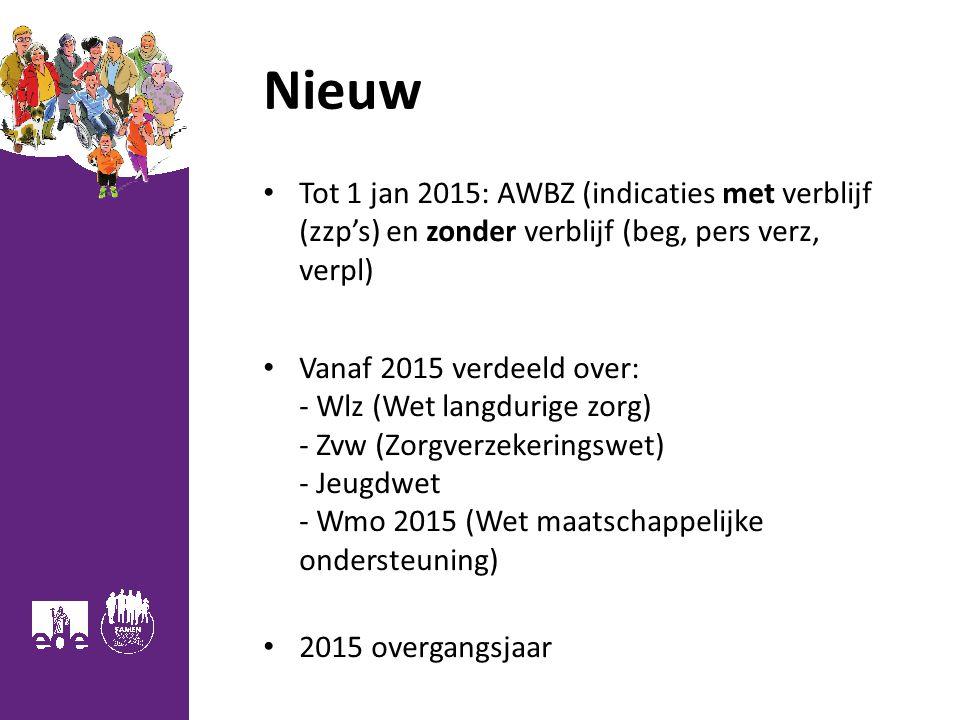 3 Nieuw Tot 1 jan 2015: AWBZ (indicaties met verblijf (zzp's) en zonder verblijf (beg, pers verz, verpl) Vanaf 2015 verdeeld over: - Wlz (Wet langdurige zorg) - Zvw (Zorgverzekeringswet) - Jeugdwet - Wmo 2015 (Wet maatschappelijke ondersteuning) 2015 overgangsjaar